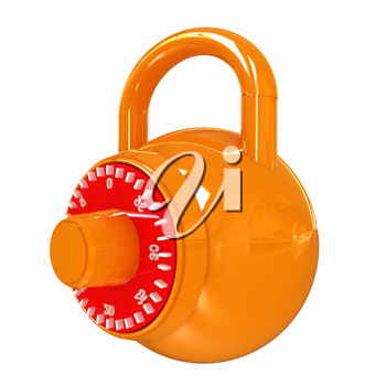 Illustration of security concept with glossy locked combination pad lock on a white background