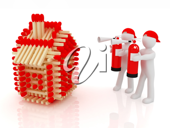 3d man with red fire extinguisher and log houses from matches pattern on white