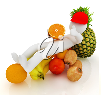 3d man with citrus on a white background