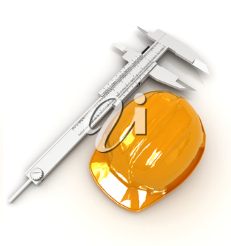 Vernier caliper and yellow hard hat 3d on a white background