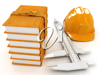 Vernier caliper, leather books and yellow hard hat on a white background