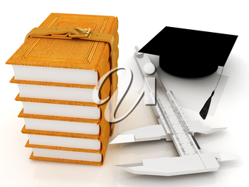 Vernier caliper, books and graduation hat. The best professional edication concept on a white background