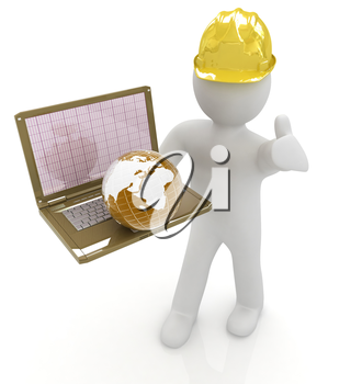 3D small people - an international engineer with the laptop and earth on a white background