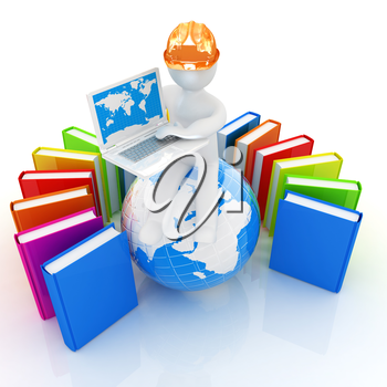 3d man in hard hat sitting on earth and working at his laptop and books around his on a white background