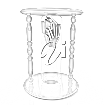 3d hourglass with the books inside on a white background