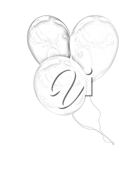 3d colorful balloons on a white background