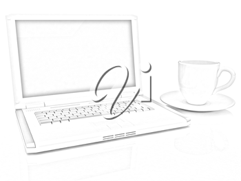 3d cup and a laptop on a white background