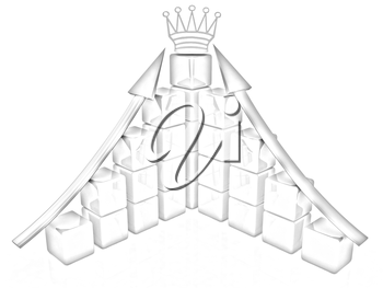 cubic diagramatic structure and crown on a white background