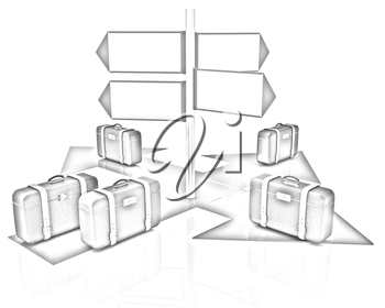 The concept of distribution of luggage at the airport on a white background