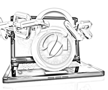 Laptop with chains and lock.3d illustration on white isolated background.