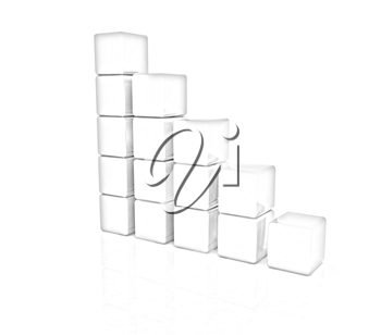 cubic diagram structure on a white background