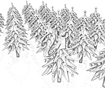 Christmas trees on a white background