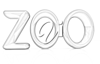 Colorful 3d text Zoo on a white background