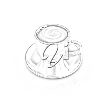 Coffee cup on saucer on a white background