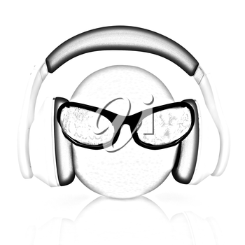 oranges with sun glass and headphones front face on a white background