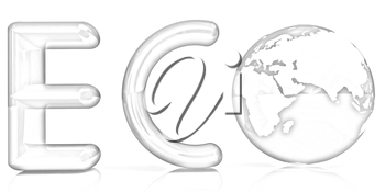 Word Eco with 3D globe on a white background