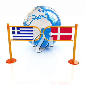 Three-dimensional image of the turnstile and flags of Denmark and Greece on a white background