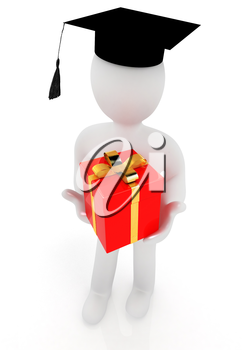 3d man in graduation hat with gift