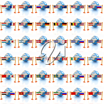Set of three-dimensional image of the flags of world on a white background