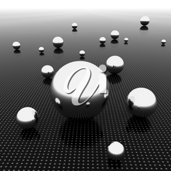 Chrome ball on light path to infinity. 3d render