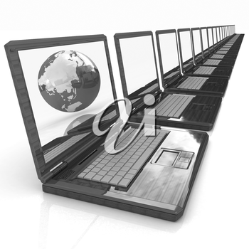 Computer Network Online concept with Eco Wooden  Laptop and Earth on white background