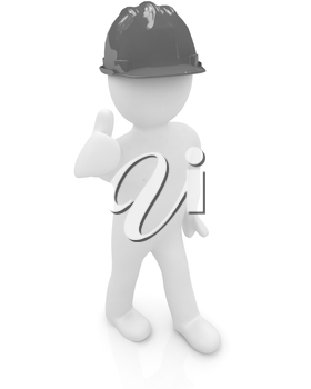 3d man in a hard hat with thumb up on a white background