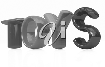 Toys 3d text on a white background