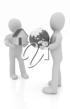 3d mans, houses and earth on a white background