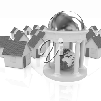 Earth in rotunda and houses on a white background