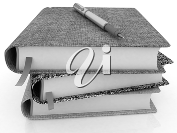 pen on notepad stack on a white background
