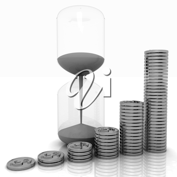hourglass and coins on a white background