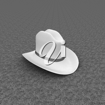 White hat with a red ribbon on a green grass background. 3d
