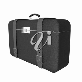 Black traveler's suitcase on a white background