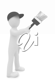 3d man with paint brush on a white background