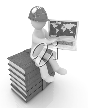 3d man in hard hat sitting on books and working at his laptop on a white background