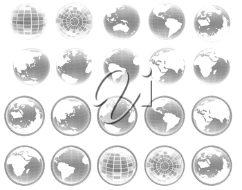 Set of yellow 3d globe icon with highlights on a white background