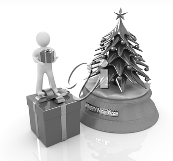 3D human, gift and Christmas tree on a white background
