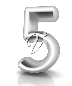Number 5- five on white background