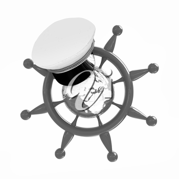 Steering wheel with Earth, and marine cap . Trip around the world concept on a white background
