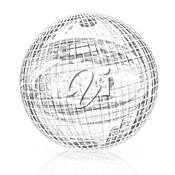 Sphere from  dollar on a white background