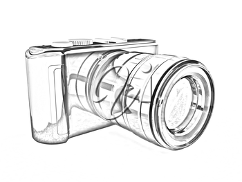 3d illustration of photographic camera on white background