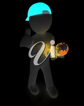 3d small man with H2O - formula of water on white background. 3d image