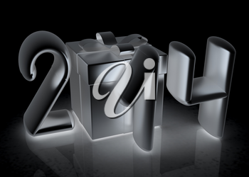Abstract 3d illustration of text 2014 with present box on a white background