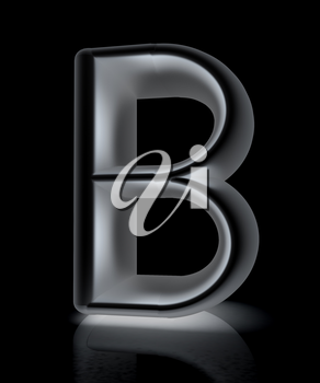 3D metall letter B isolated on white