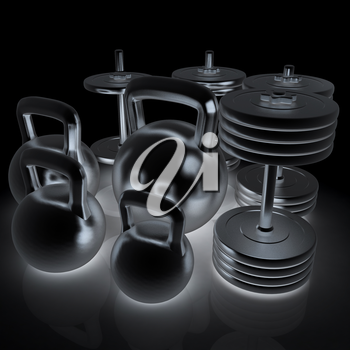 Metall weights and dumbbells on a white background