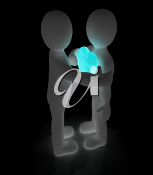 3d mans holding his hand to his heart and 3d people hug . Concept: From the heart