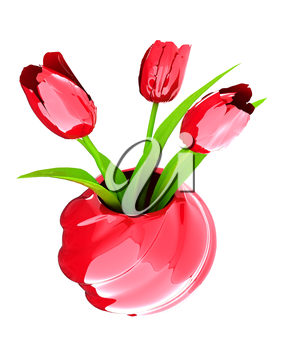 Tulips with leaf in vase