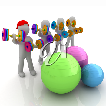 3d mans with fitness balls and dumbells