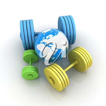 dumbbells and earth