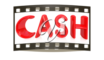 3d illustration of text 'cash' on a white background. The film strip